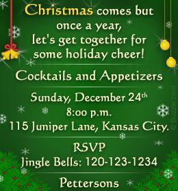 christmas card invitation wording