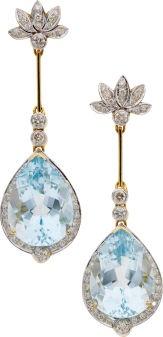 Blue topaz, diamond, colored diamond gold earrings
