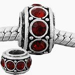 Antique Silver European Style Garnet Rhinestone Charm Bead. Fits Most Major Charm Bracelets.: Amazon.co.uk: Noahs birthstone