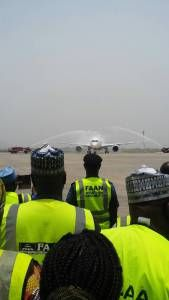 Meet The First Airplane That Lands In Nnamdi Azikwe Airport Abuja After 6 Weeks Closure