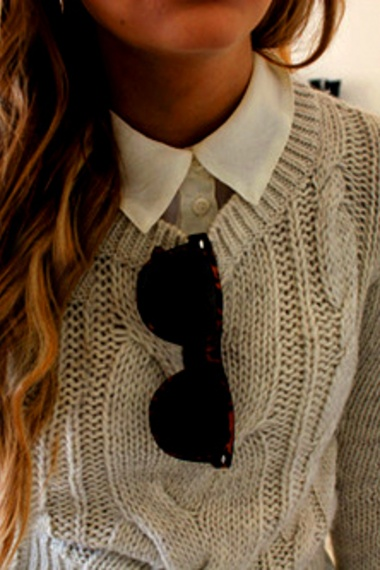 heavy knit + button up