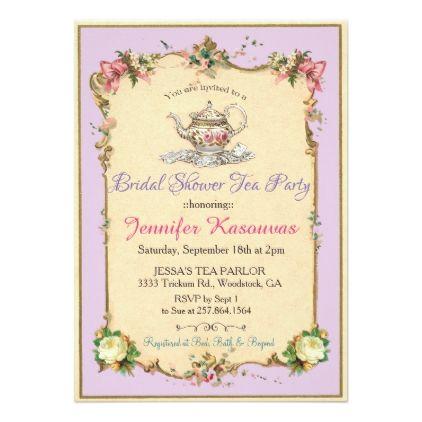 Vintage Tea Party Bridal Shower Invitation Invitations Custom Unique Diy Personalize Occasions
