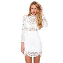 Novo 2017 mulheres da moda outono dress vintage dress bohemian estilo branco crochet lace alta neck mini dress lc22179(China (Mainland))