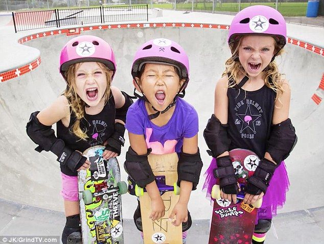 The Pink Helmet Posse- A trio of 6-year-old girls, known as the 'Pink Helmet Posse,' are skating all over Southern California.