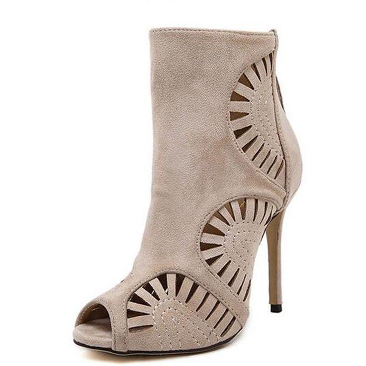 2016 herbst Neue Hohl frauen Rom Fashion Stiefel Peep Toe Stiletto Schuhe mit hohen absätzen Partei Frau Stiefeletten //Price: $US $25.89 & FREE Shipping //     #clknetwork