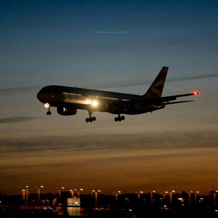British Airways Boeing 767-336/ER during an evening landing approach