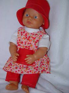 Baby Born Doll clothes- outfit in red