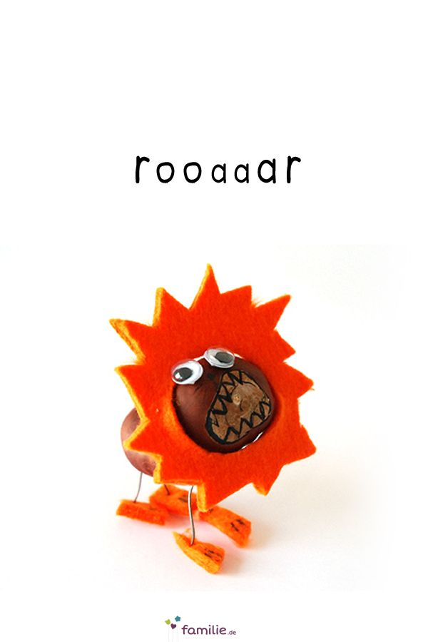 Gut gebrüllt, kleiner Kastanien-Löwe! Mit ein bisschen Bastelfilz in Orange, Wackelaugen und Draht lässt sich ganz easy ein beeindruckendes Raubtier herstellen.