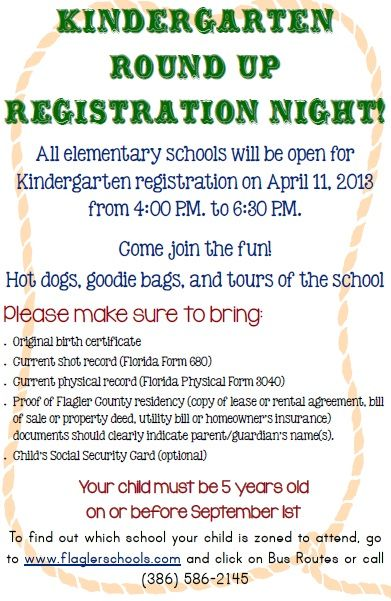 """All elementary schools will be open for """"Kindergarten Round Up Registration Night"""" on April 11, 2013 from 4:00 - 6:30 p.m"""