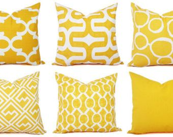 Yellow Pillow Covers Two Decorative Pillow by CastawayCoveDecor