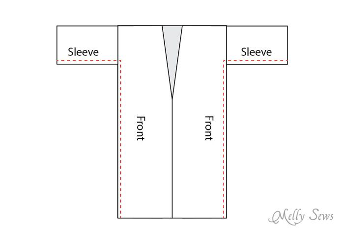 Step 5 -1 - Sew a robe - This sumptuous robe can be made in any size from rectangles! Get the full tutorial at Melly Sews