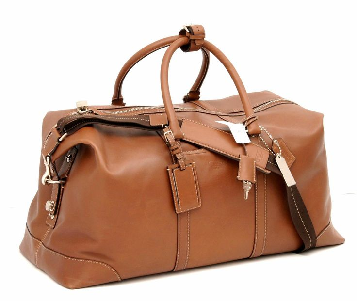 Transatlantic Brown Leather Duffle Bag by Coach