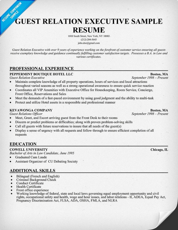Guest Relation #Executive Resume (resumecompanion) RESUMES - guest relation officer sample resume