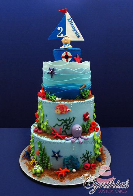 Ocean Themed Cake...love the ombré waves on the top tier.