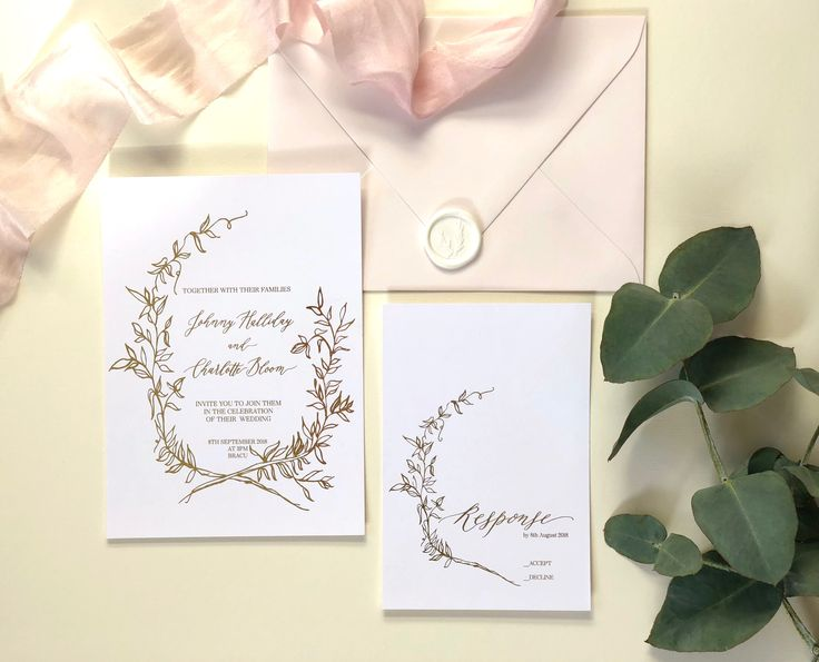Gold foil, calligraphy and delicate leaf wreath - the perfect luxury wedding invitation suite