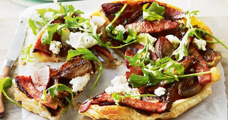 Layer puff pastry with crispy bacon, shallots and fetta for a savoury-style tarte tatin.