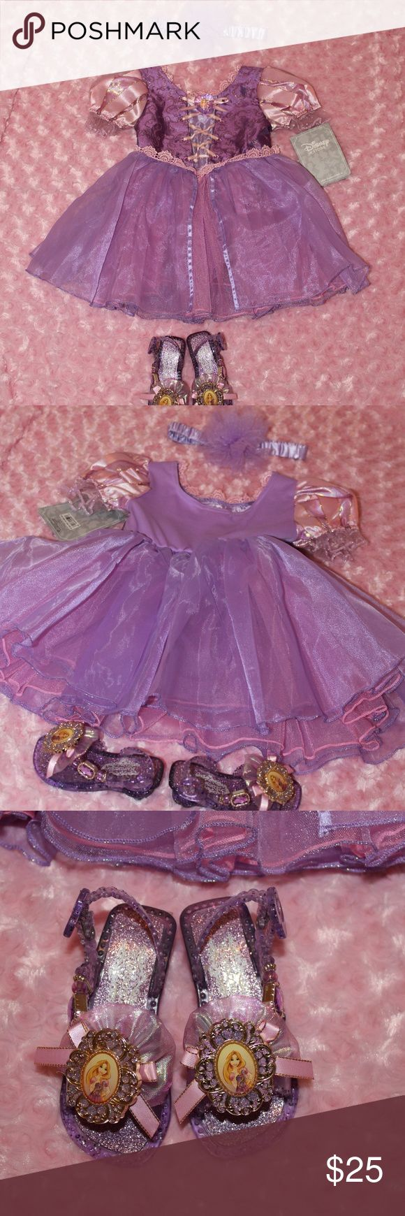2T Rapunzel Disney Store costume Dress sz 2T Shoes sz 5/6 There are snags and holes in costume did my best to show. Several on front panels and back of purple lining. Shoes have glue on them. Overall cute costume. Shoes light up. Disney Store Costumes Halloween