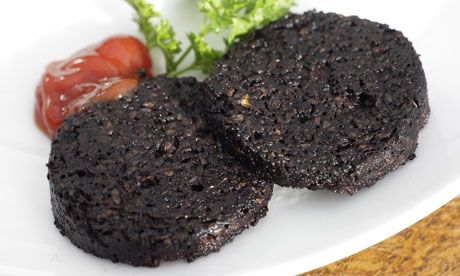 A traditional food in Scotland is Blood Pudding. Using all the part of an animal after it is butchered is very important. The leftover parts of the pig including the blood after all the important meats have been taken are used to make Blood Pudding. Its actually a type of sausage.