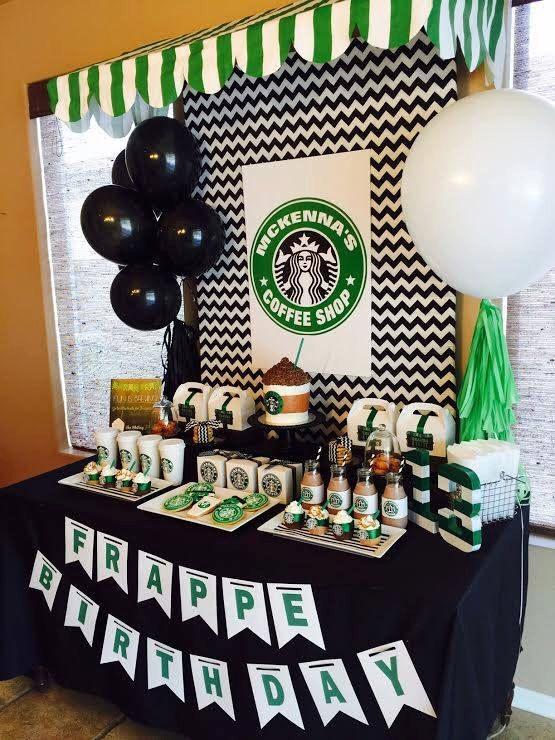 Starbucks Birthday Coffee Lover Printable Party Pack, Banner, Invitation, Cupcake Toppers, Poster, Favor Tags,  - Print Your Own by Partyperfectdesign on Etsy https://www.etsy.com/listing/233234226/starbucks-birthday-coffee-lover