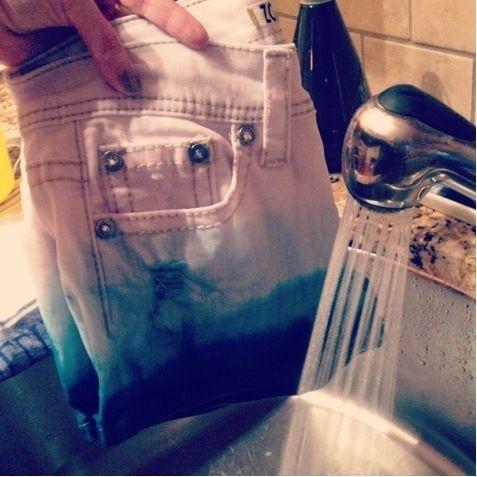 dip dye jean shorts.
