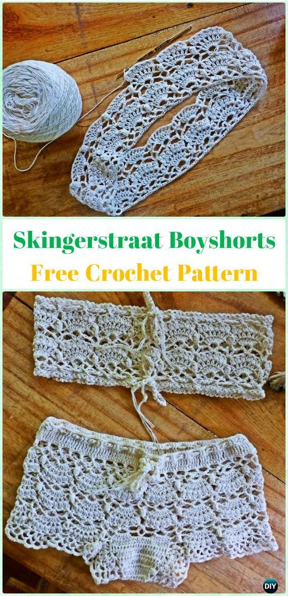 Crochet Skingerstraat Boyshorts Free Pattern - Crochet Summer Shorts & Pants Free Patterns