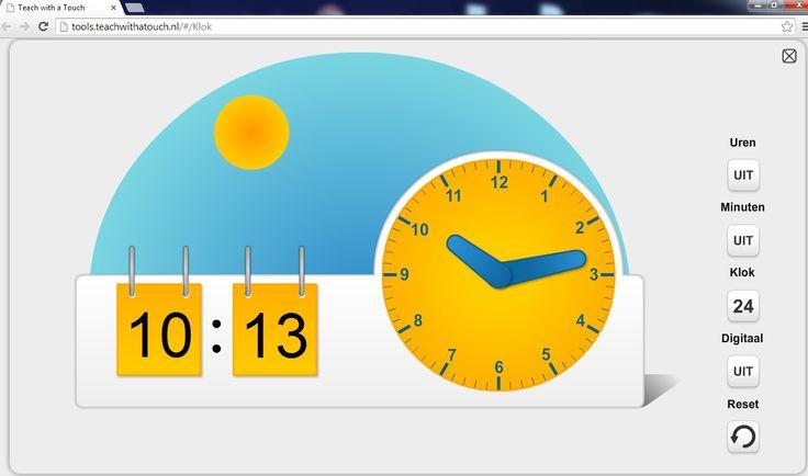Zeer handige instructieklok te gebruiken in de rekenles op de site http://tools.teachwithatouch.nl/#/Klok