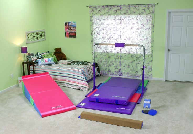 Starter Home Gym Package - tumbling incline portable beginner recreational - Tumbl Trak - Gymnastics, Cheerleading and Dance Equipment. Perfect for the recreational or beginner team gymnast looking to strengthen skills and reinforce good habits safely at home, in the shapes they learn in the gym from their coaches. This great portable package includes a bar, beam, incline, sliders for conditioning and the appropriate matting.