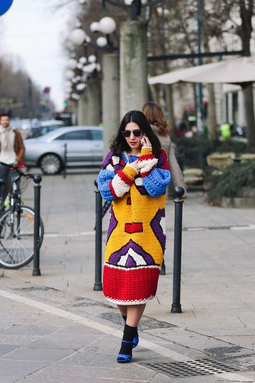 Colorful chunky knit sweather dress