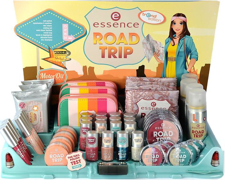 "beauties on the road! our new ""road trip"" trend edition has already been seen in stores! you can look forward to duo and mini products that are super-practical when you're on-the-go. which beauty pieces do you take along when you travel?  #essence #cosmetics #roadtrip #summer #route66 #trendedtion #travel"