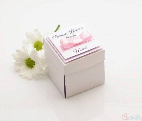 Zaproszenie komunijne pudełko różowe