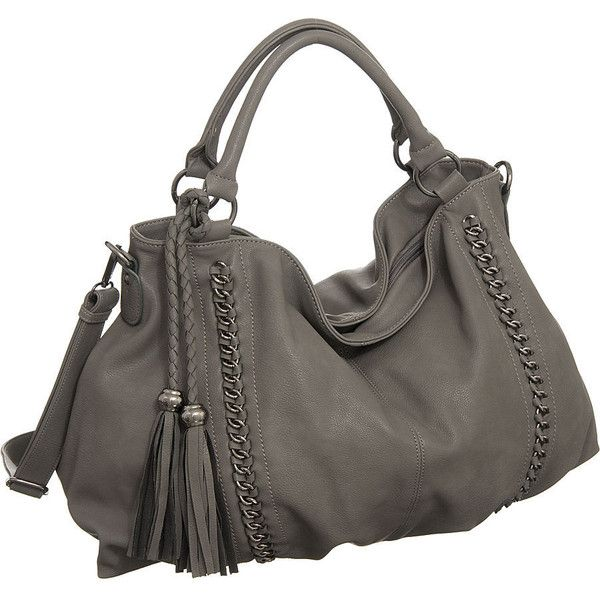 "Purse Boutique: Grey Oversized Melie Bianco ""Miley"" Hobo Handbags,... ❤ liked on Polyvore"