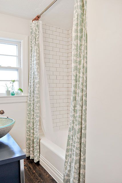 Perfect Double Shower Curtain (love The Subway Tile With Grey Grout, The Wood  Floors, And The Fabric). Love The Idea Of Cutting The Shower Curtain Liner  In Half And ...