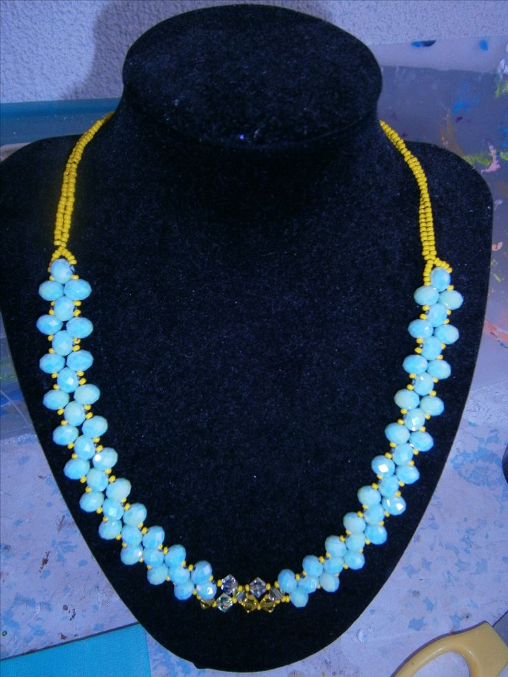 Sophiecadesigns #mint #yellow #crystal #rightangleweave
