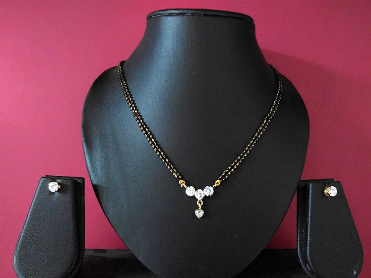 designer three diamond gold plated cubic mangalsutra pendant with earrings #panassh