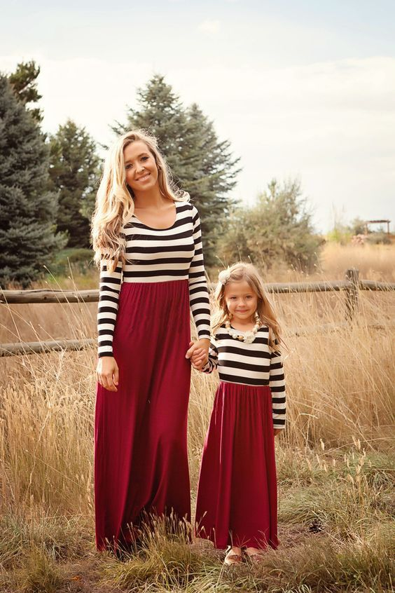 Mommy and Me Matching Dresses 2016 New Autumn Spring Long Sleeve Red Stripe Mother and Daughter Matching Toddlers Maxi Dresses