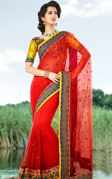 Picture of Appealing Red Color Indian Wedding Saree Online