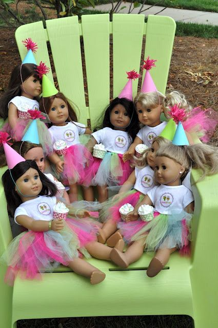 make the tutu's for the dolls and party hats.  white t-shirt with iron on.  Meghily's: American Girl Party @ Sweet Frog