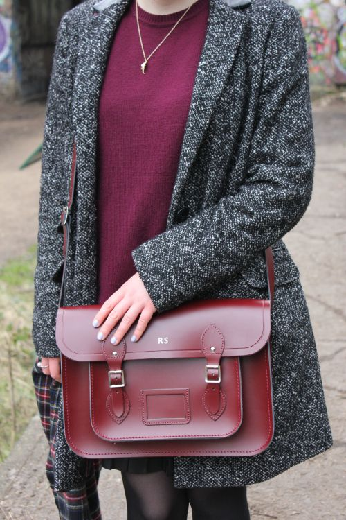 Cambridge Satchel Company Oxblood 14-inch satchel with silver embossed initials.