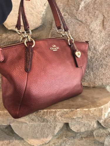 a1efe49868 COACH F55514 Small Kelsey Satchel In Metallic Leather With Exotic Trim