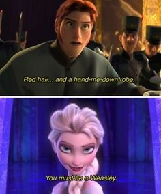 Hahaha but I could not see ron as evil and elsa as a boy and an evil person #frozenmeetsharrypotter