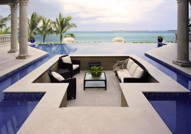 4 outdoor pool sunken seatingLiving Area, Pools Area, Seats Area, Sitting Area, Outdoor Living Room, Tropical Pool, Dreams Pools, Pools Design, Outdoor Pools