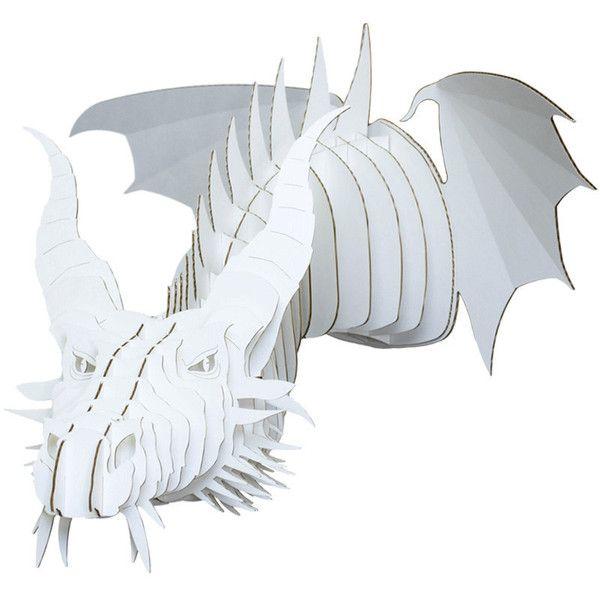 Nikita Jr Medium Cardboard Dragon Head White ($30) ❤ liked on Polyvore featuring home, home decor, black, home & living, home décor, head statue, dragon figure, white figurines, white home decor and black figurines