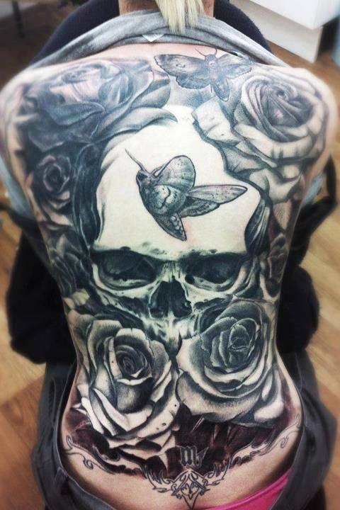 Full back tattoo with skull head roses and butterflies for Full head tattoo