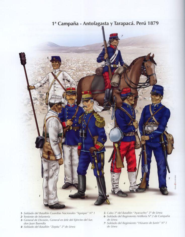 Historia militar de la Guerra del Pacífico Como ven, algunos uniformes se parecían bastante de un país a otro.