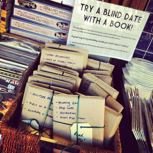 A blind date with a book! Sarah would love this idea...