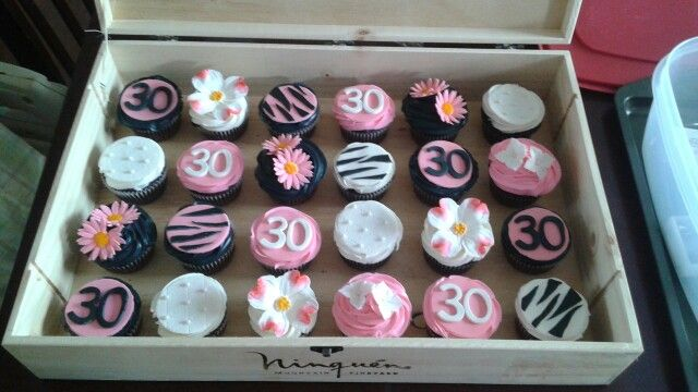 Pink and black 30 cupcakes