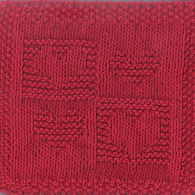 Four Square Hearts Knit Dishcloth Pattern