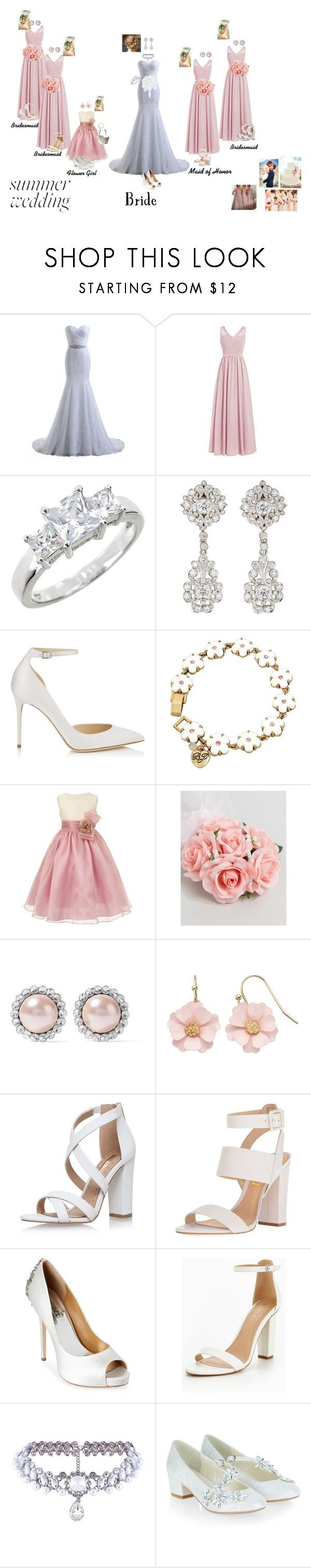 """Summer Wedding"" by candykiller1999 ❤ liked on Polyvore featuring Sterling Forever, McTeigue & McClelland, Jimmy Choo, Betsey Johnson, ASOS, Miu Miu, LC Lauren Conrad, Miss KG, Badgley Mischka and WithChic"