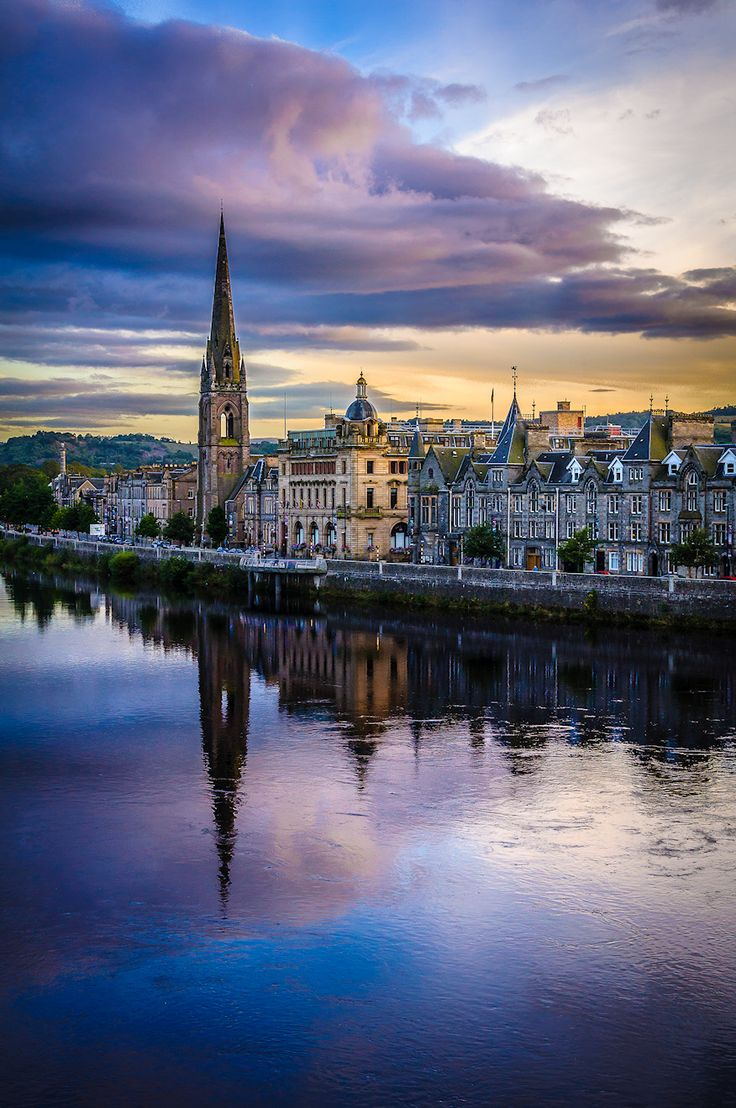 Perth, Scotland.  Old town over the river Tay