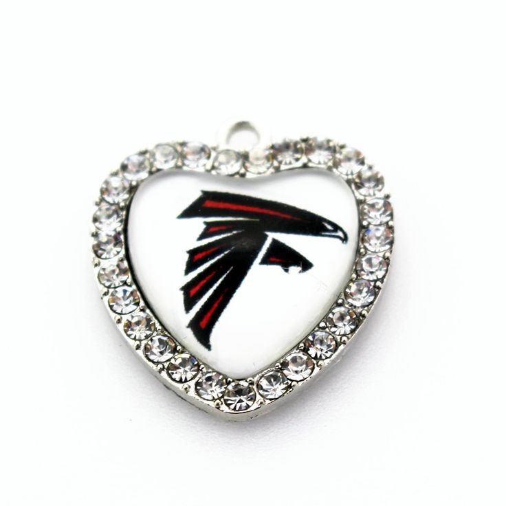 New arrival 10pcs/lot football team Sports Atlanta Falcons glass heart white crystal Dangle Charms necklace diy jewelry #Affiliate